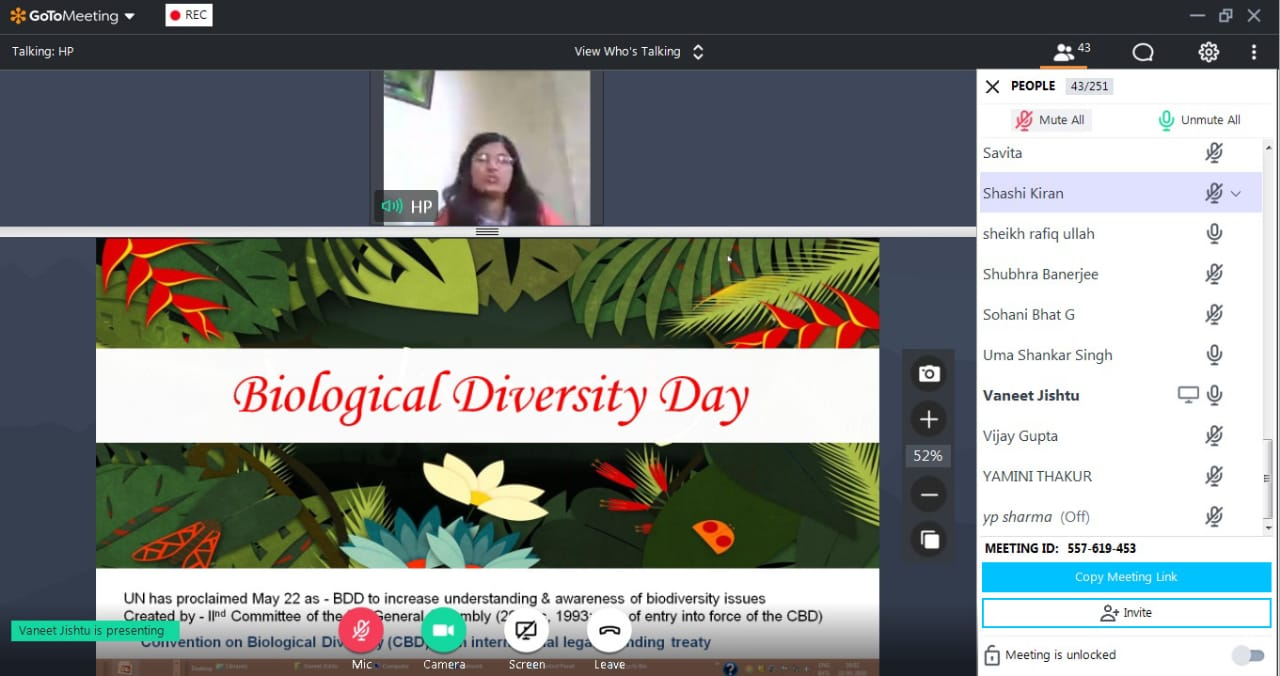 Webinar on the occasion of International day for Biological Diversity